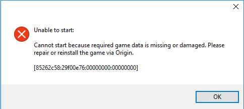 Cannot start because required game data is missing or damaged